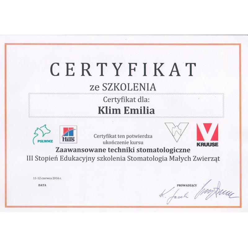 Weterynarz stomatolog lek. wet. Emilia Klim