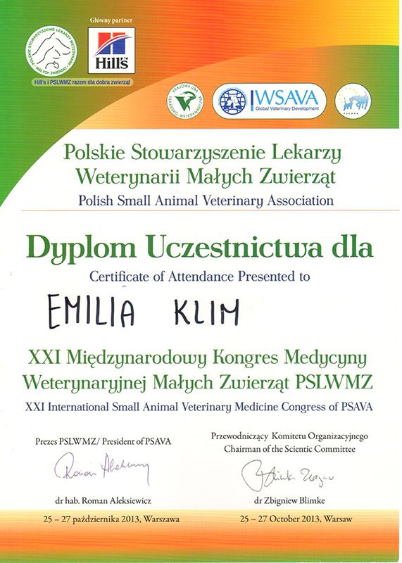 XXI Międzynarodowy Kongres Medycyny Weterynaryjnej Małych Zwierząt, 2013