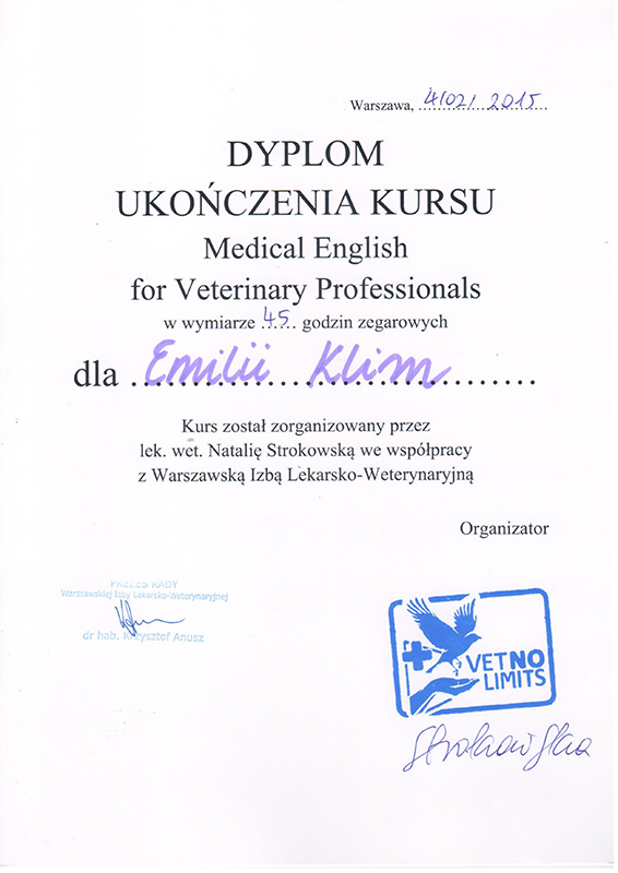 Medical English for Veterinary Professionals, 2015
