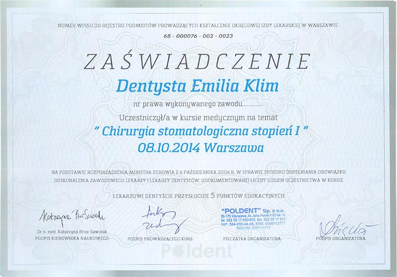 Chirurgia stomatologiczna stopień I, 2014