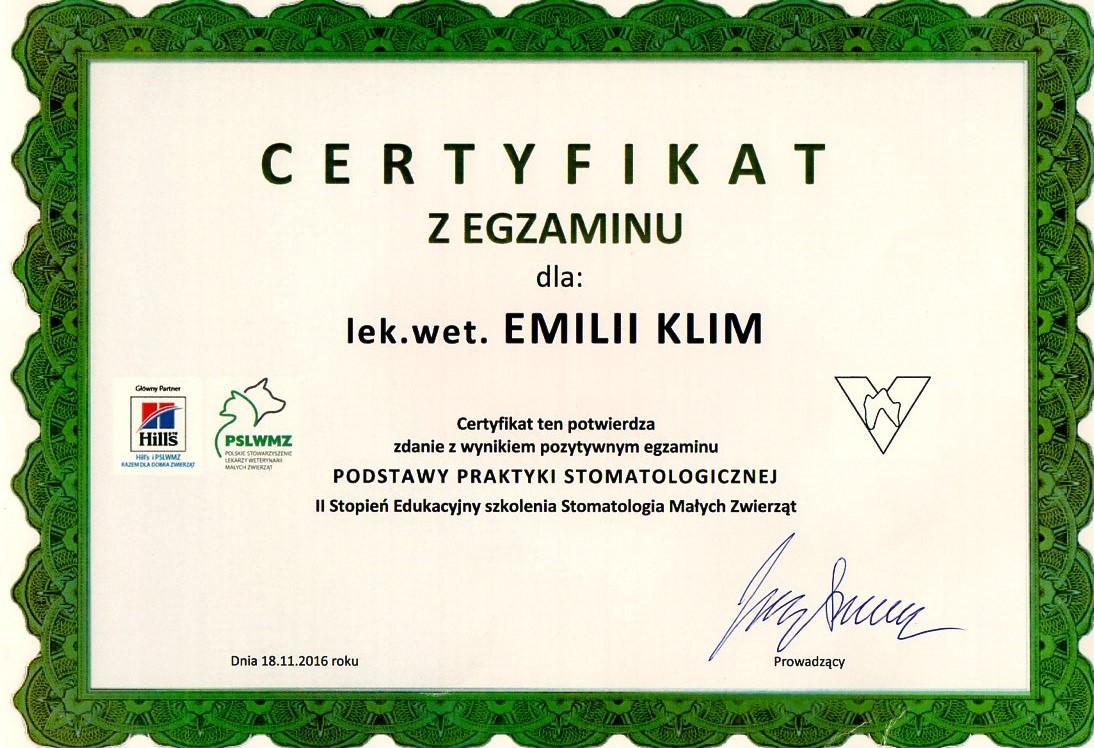 Certyfikat z egzaminu