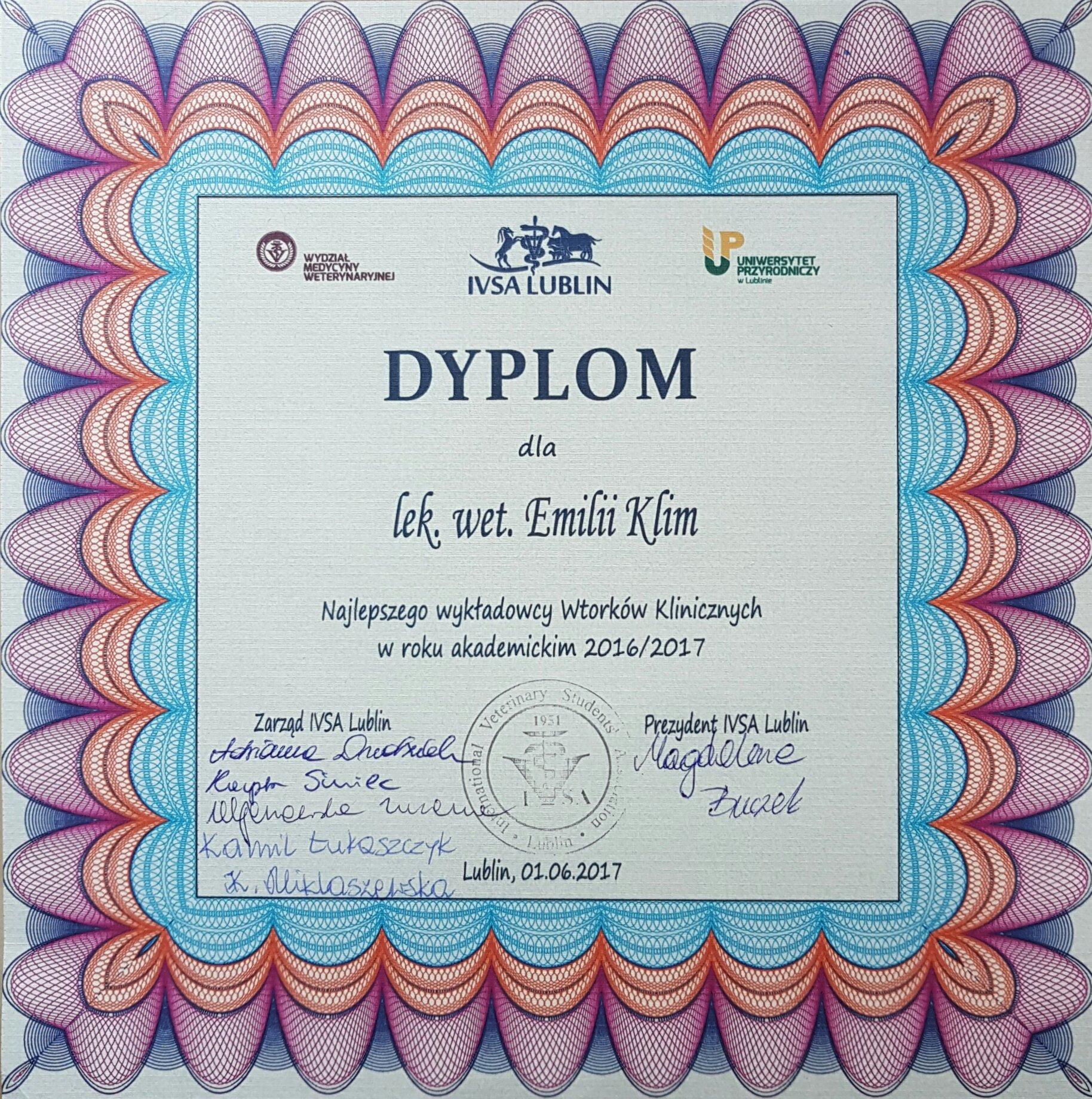 Dyplom dla najlepszego wykładowcy Wtorków Klinicznych w roku akademickim 2016/2017