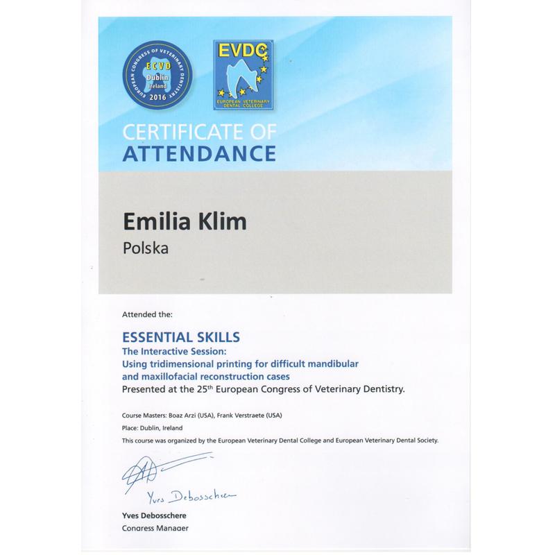 Dyplom z 25-go Europejskiego Kongresu Stomatologii Weterynaryjnej w Dublinie (2016)
