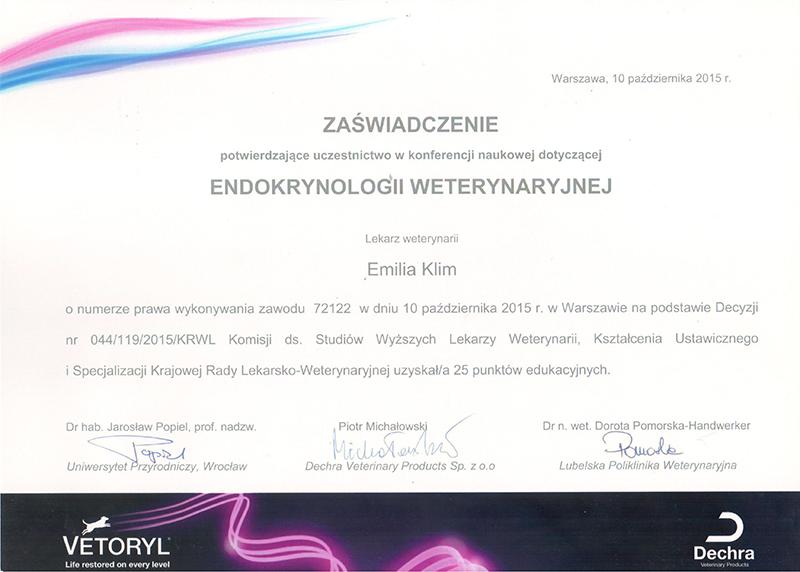 Endokrynologia weterynaryjna, 2015