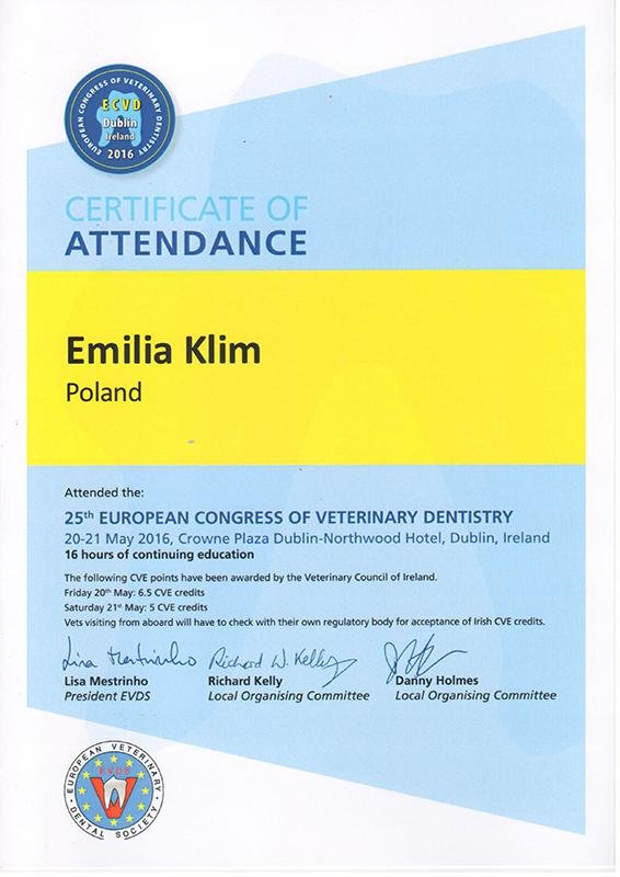 25th European Congress of Veterinary Dentistry, 2016