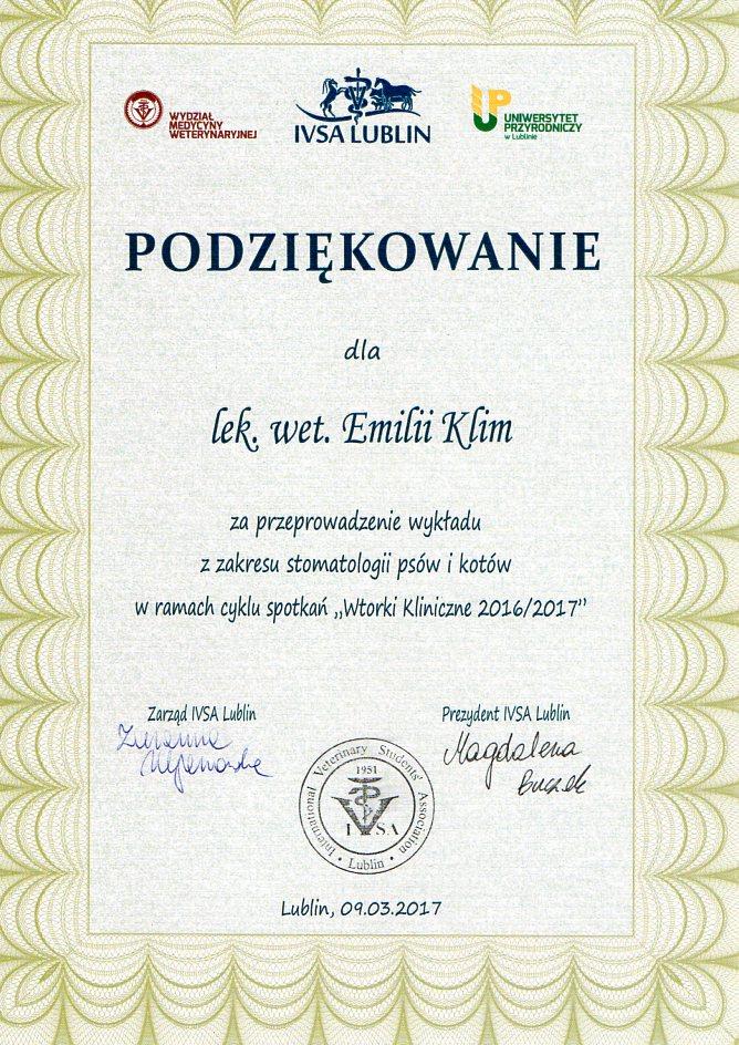 Podziękowanie za przeprowadzenie wykładu dla studentów IVSA Lublin